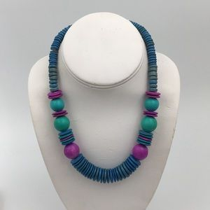 Retro Blue Terracotta Clay Bead Necklace